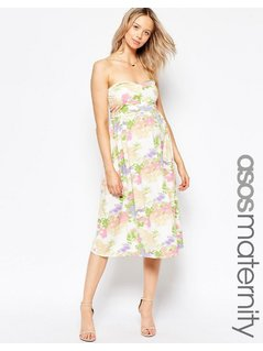 ASOS Maternity Bandeau Midi Dress in Vintage Floral - Multi