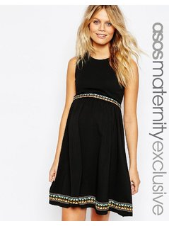 ASOS Maternity Skater Dress with Embroidered Tape Detail - Black