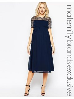 Maya Maternity Midi Dress With Sequin Embellished Top - Navy