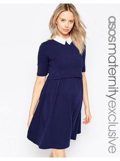 ASOS Maternity NURSING Skater Dress With Contrast Collar And Half Sleeve - Navy