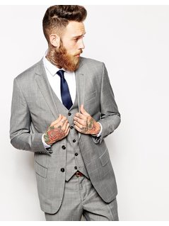 River Island Suit Jacket with Check Print - Grey