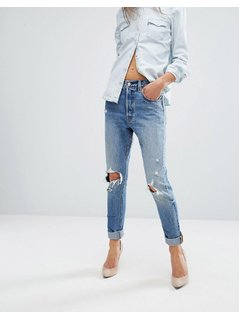 Levi's 501 Skinny Jeans Ripped Knees - Blue