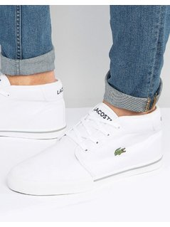 Lacoste Ampthill Canvas Mid Trainers - White