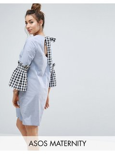 ASOS Maternity Shift Dress in Chambray with Gingham Sleeve - Blue