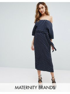 New Look Maternity Polka Dot Plisse Midi Dress - Blue