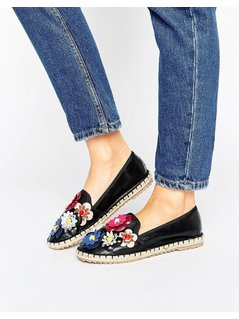 Lost Ink Black Floral Espadrilles - Black