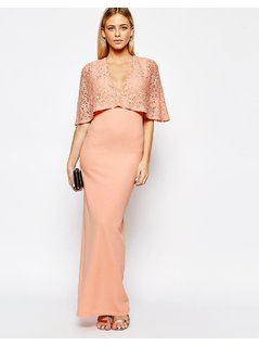Club L Kimono Sleeve Maxi Dress with Lace Overlay - Pink