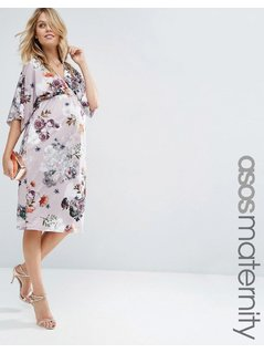 ASOS Maternity Pencil Dress In Soft Mink Floral - Multi