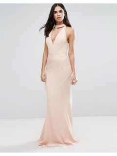 Jarlo Choker Neck Maxi Dress - Pink