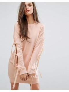 Missguided Bow Sleeve Sweat Dress - Pink