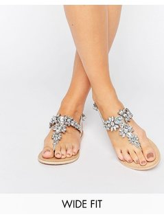 ASOS FAIRYTALE Wide Fit Leather Embellished Flat Sandals - Silver