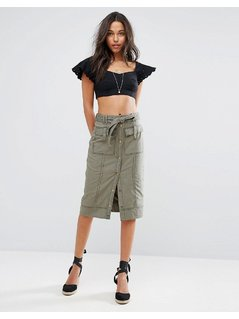Abercrombie&Fitch Button-Front Utility Midi Skirt - Green