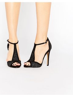 Ravel T Bar Heeled Sandals - Black