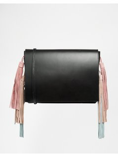 Normal asos premium leather tassel shoulder bag black