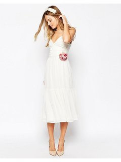 ASOS WEDDING Corsage Cami Tiered Midi Dress - White