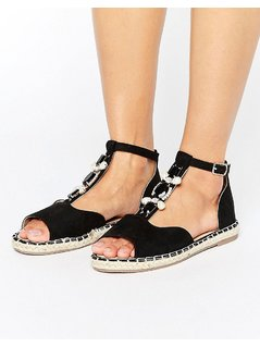 Truffle Collection Jewel Front Espadrille - Black