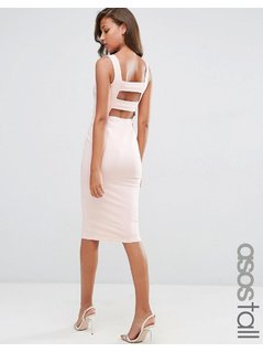 ASOS TALL Strap Back Pini Bodycon Midi Dress - Pink