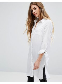 Noisy May Long Shirt with Buckle - White