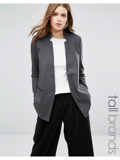 Vero Moda Tall Long Line Boyfriend Blazer - Grey