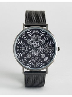 Reclaimed Vintage Paisley Mesh Watch In Black - Black