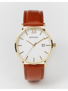 Sekonda Gold Detail Brown Leather Strap Watch Exclusive to ASOS 1112 - Brown