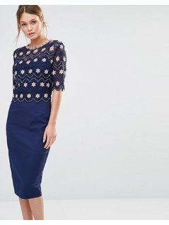 Paper Dolls Lace Overlay Midi Dress - Navy