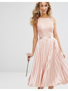 Chi Chi London Lace Bodice Midi Dress With Pleated Satin Skirt - Pink