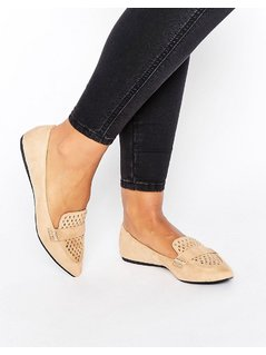 Call It Spring Unoille Cut Out Point Flat Shoes - Beige