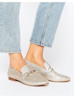 River Island Glitter Loafer - Gold