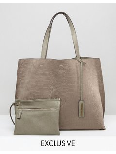 Street Level Moc Croc Sudette Tote Bag in Stone - Beige