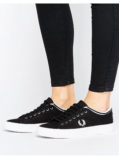 Fred Perry Kendrick Black Tipped Cuff Canvas Trainers - Black