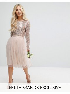 Maya Petite Satin Waist Midi Full Tulle Skirt With Bow Back Detail - Pink