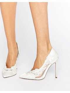 ASOS PURE Bridal Pointed Lace Heels - White