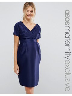 ASOS Maternity Dress with Bow Back - Blue