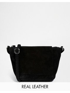 Normal asos festival suede cross body bag black