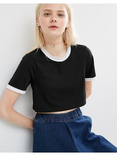 ASOS Crop T-Shirt With Tipping - Black