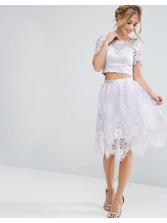 Chi Chi London Midi Skirt In Scallop Lace - Purple