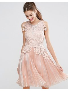ASOS SALON Metallic Lace Applique Midi Skater Dress - Pink