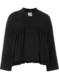 Forte Forte Pleated Panel Zip Up Cropped Jacket