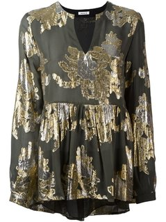 P.A.R.O.S.H. Metallic Ruffled Blouse