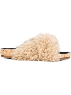 Chloé - Kerenn Flat Mule - Women - Cork/Leather/Sheep Skin/Shearling/Rubber - 41