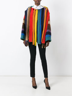 Jc De Castelbajac Vintage rainbow stripe fringed jacket
