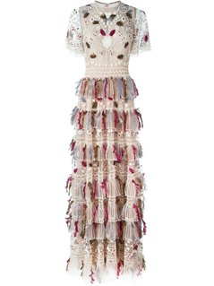 Valentino - Beaded And Feathered Embroidered Gown - Women - Silk/Polyamide/Spandex/Elastane/Feather - 38