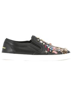Dolce&Gabbana - Castle Patch Slip-On Sneakers - Women - Calf Leather/Leather/Brass/Glass - 35