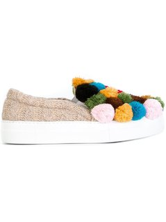 Joshua Sanders Pompom Application Slippers