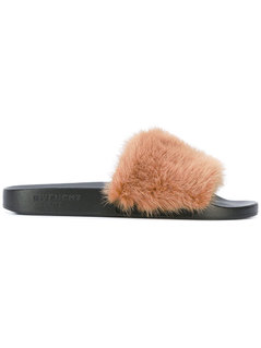 Givenchy - Contrast Strap Slides - Women - Mink Fur/Rubber - 35