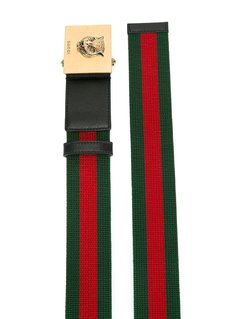 Gucci feline buckle web belt
