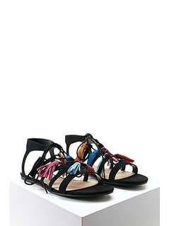 Faux Suede Tasseled Sandals
