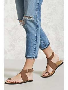 Faux Suede Toe Ring Sandals