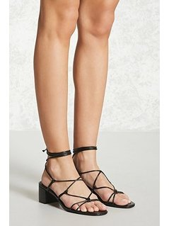 Faux Leather Lace-Up Heels